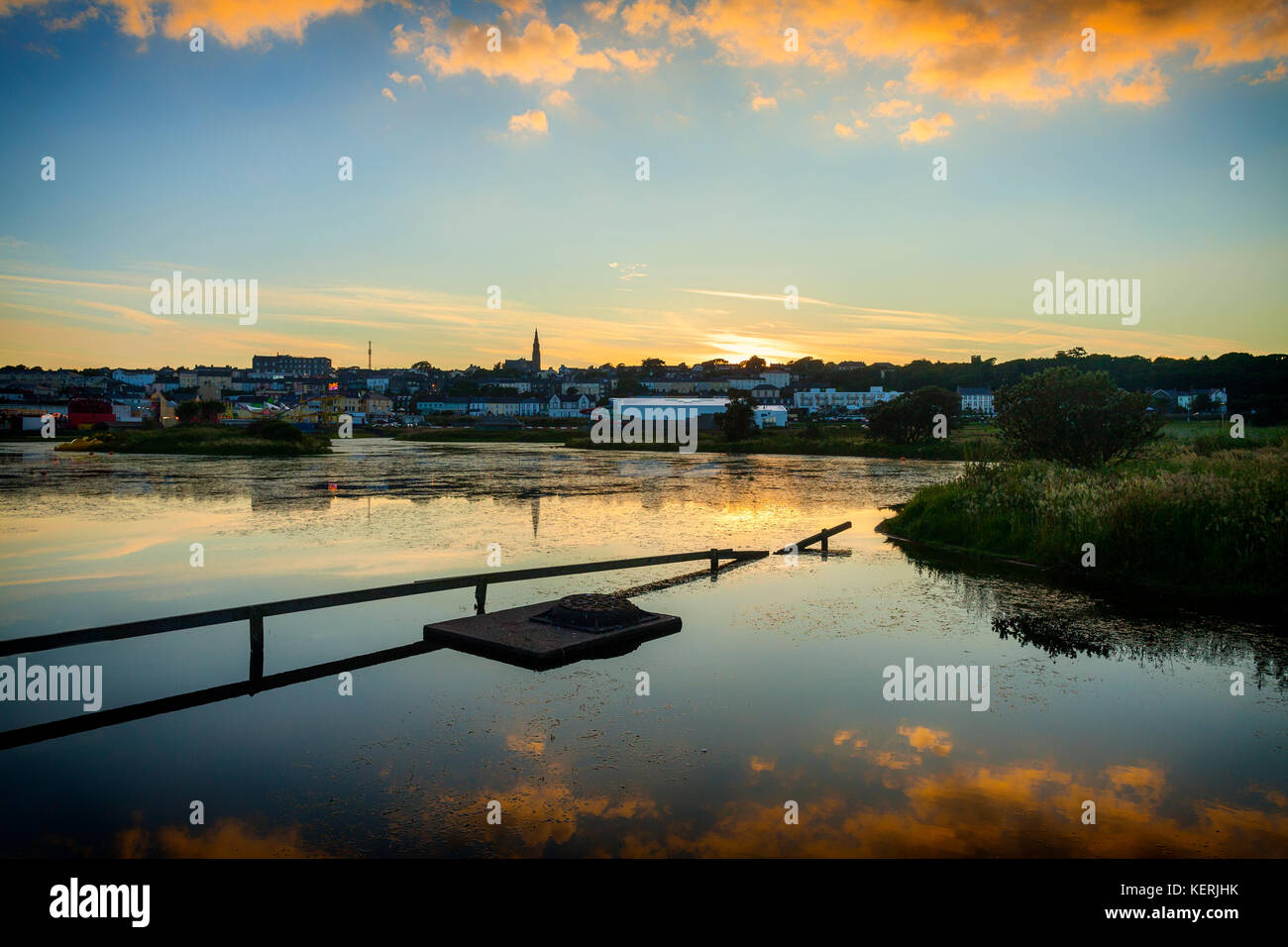 Townscape and Skyline of Tramore, Seen across the Boating Lake, County Waterford, Ireland - Stock Image