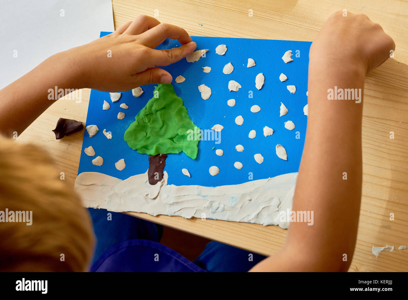 Child Crafting in Development School - Stock Image