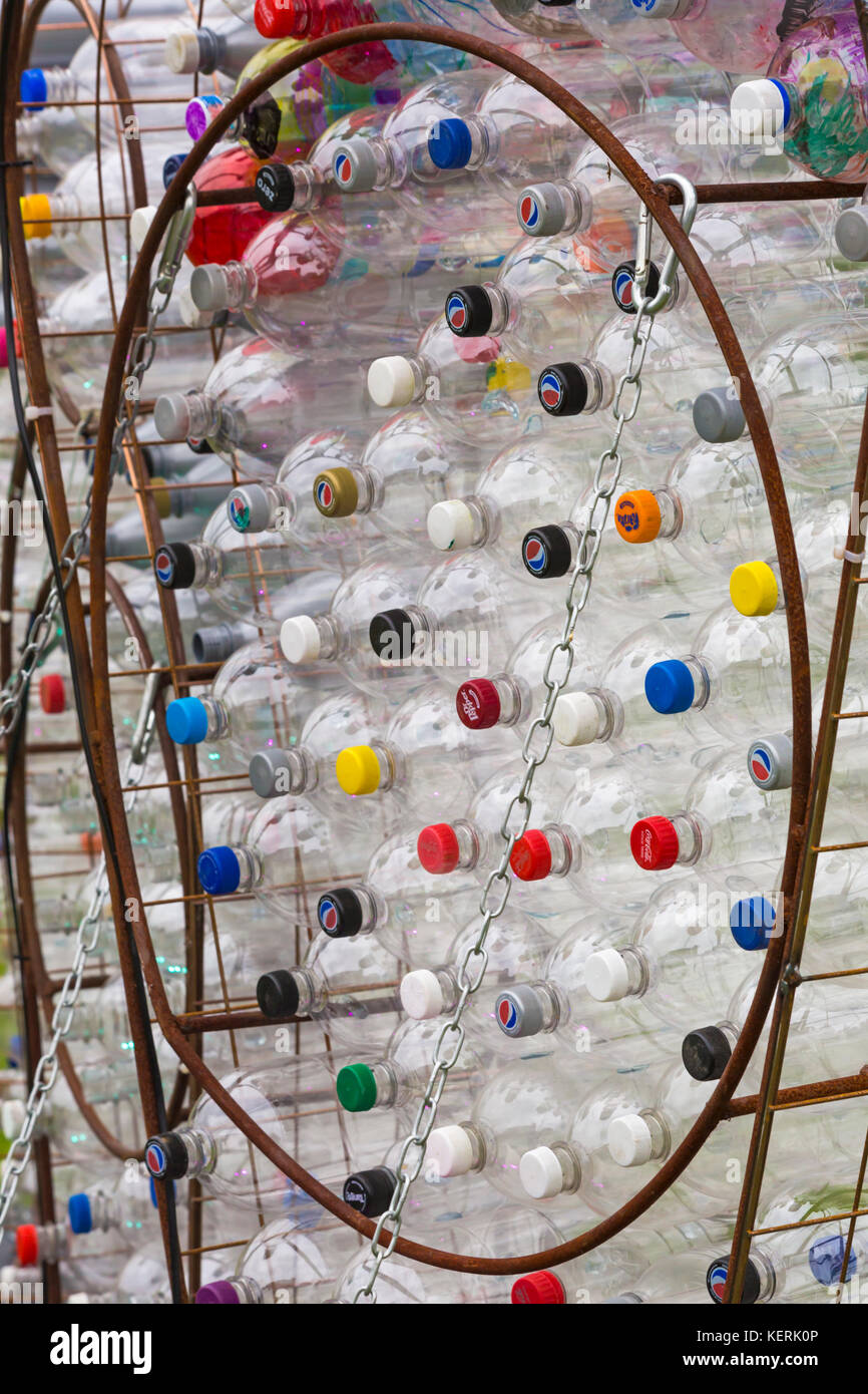 Upcycling plastic bottles at Bournemouth - part of Turning the Tide display by Mick Stephenson at Bournemouth Arts - Stock Image