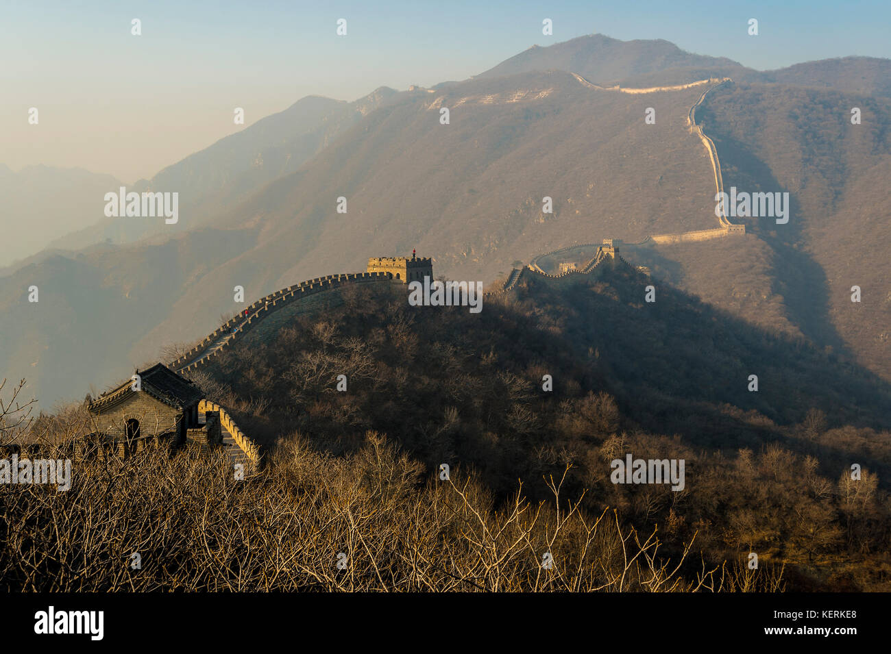 asia cina beijing travel Great Wall of Mutianyu landscape Stock Photo