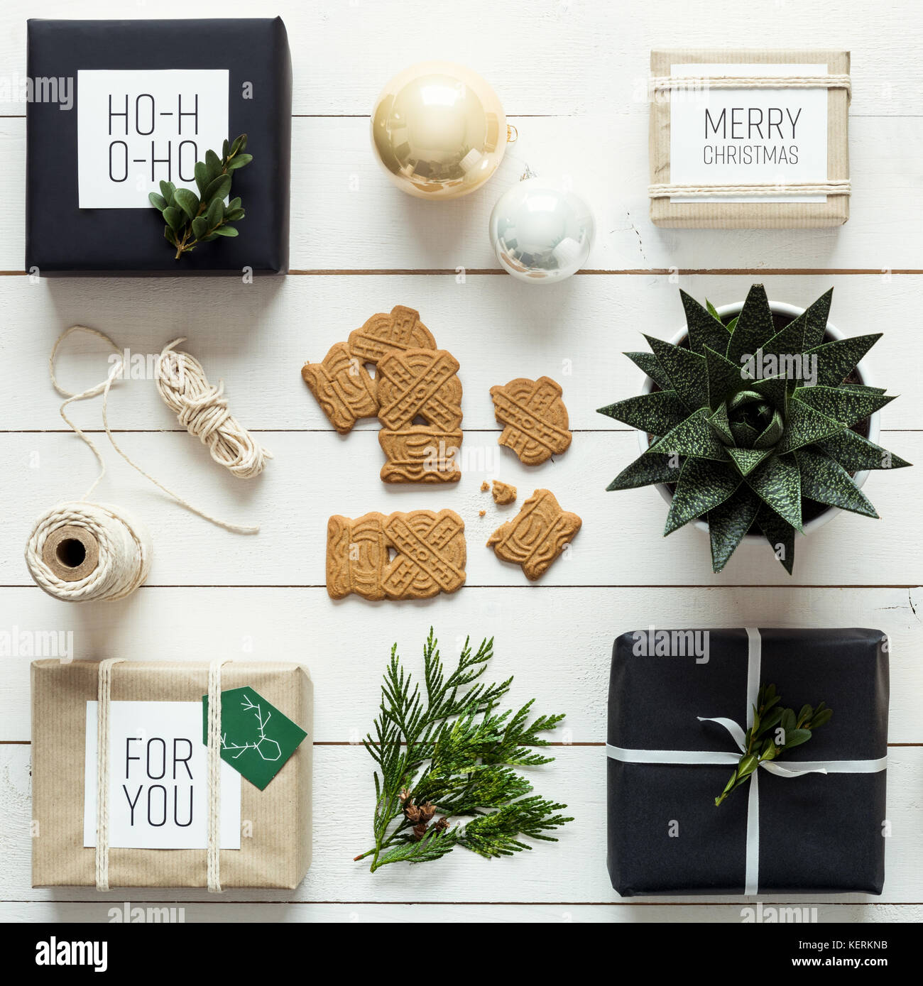 Elegant nordic retro christmas, wrapping station, desk view from above, DIY xmas concept - Stock Image