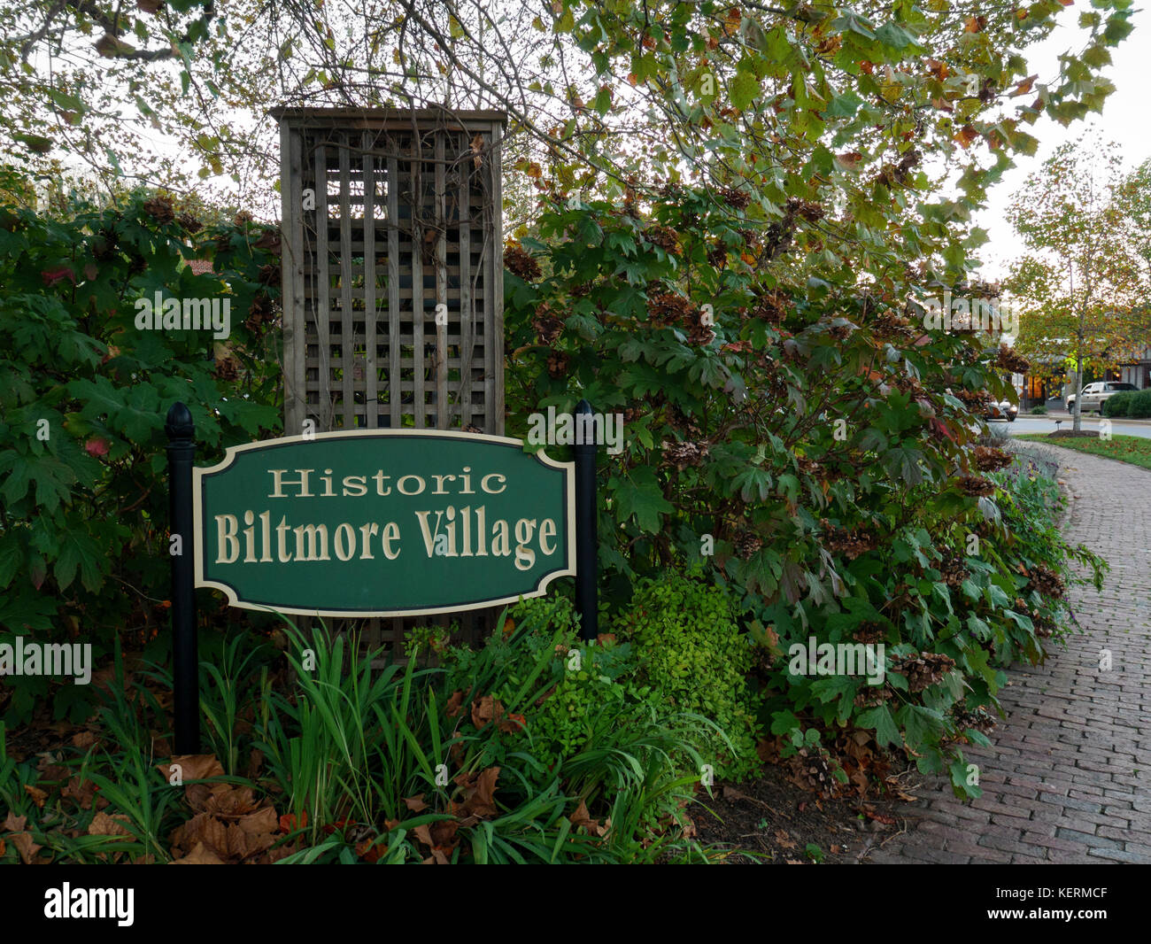 Historic Biltmore Village sign, Asheville, North Carolina. - Stock Image