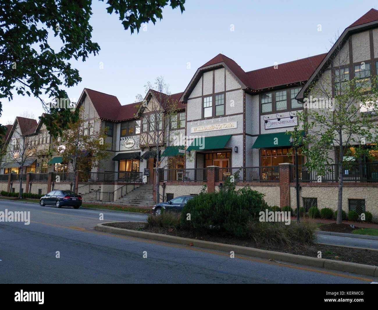 Retail shops, Biltmore Village, Asheville, North Carolina - Stock Image