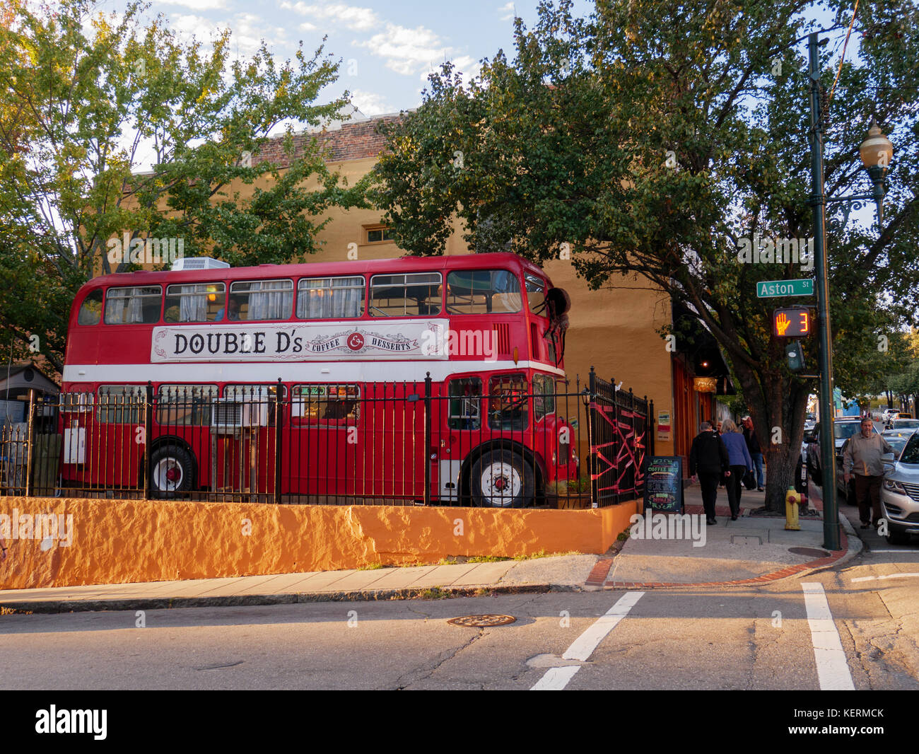 London style double decker bus repurposed as coffee shop. Asheville, North Carolina. - Stock Image