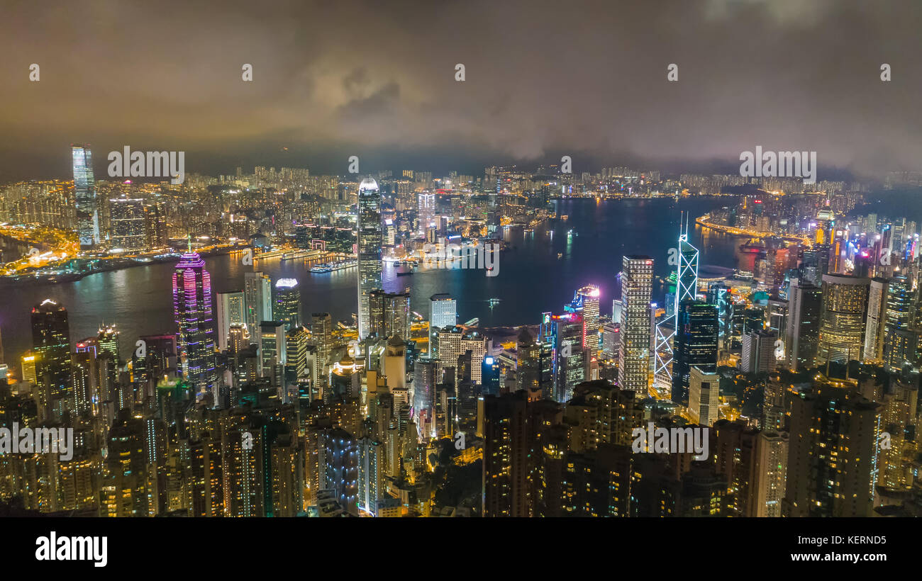 Honk Kong city at night. China. - Stock Image