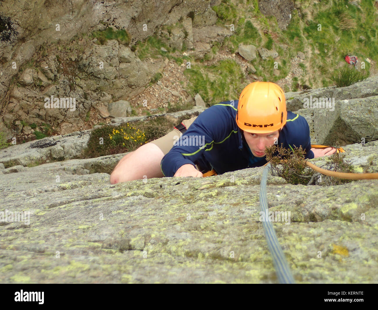 Rock climbing on Gouther Crag in Swindale, Lake District National Park, Cumbria, England. - Stock Image