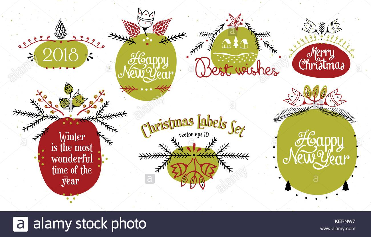 Merry Christmas. Happy New Year, 2018. Christmas Labels Set. Vector Logo,  Emblems, Design Template. Usable For Banners, Greeting Cards, Gifts Etc.