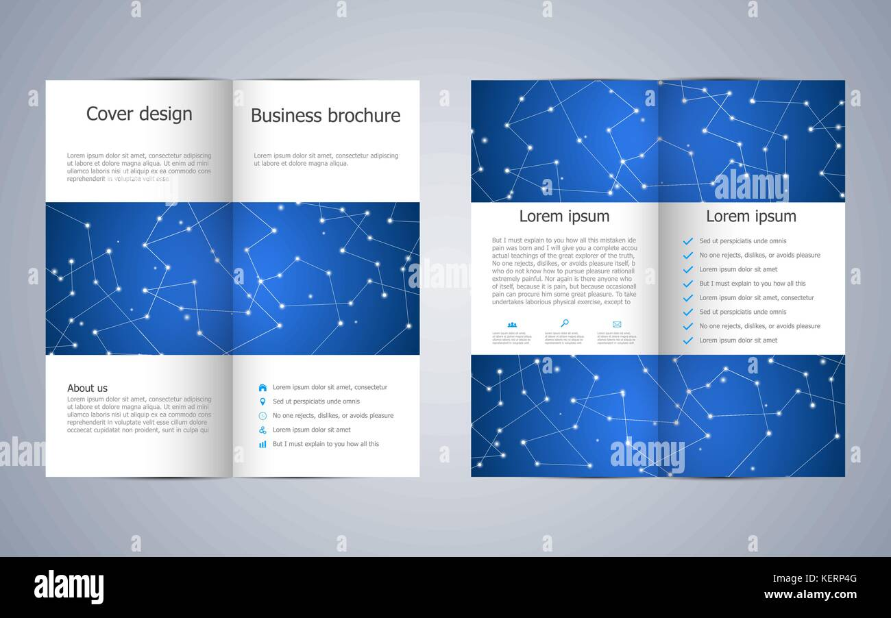 Bi Fold Business Brochure Template Geometric Graphics And Connected