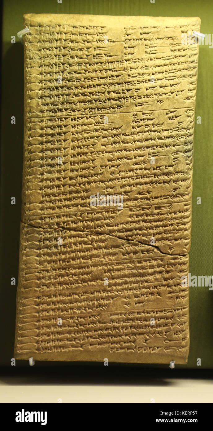 Mesopotamia. Tablet clay. Omens from strange births. Assyrian Empire, Iraq. Assyrian Empire. British Museum. London. - Stock Image