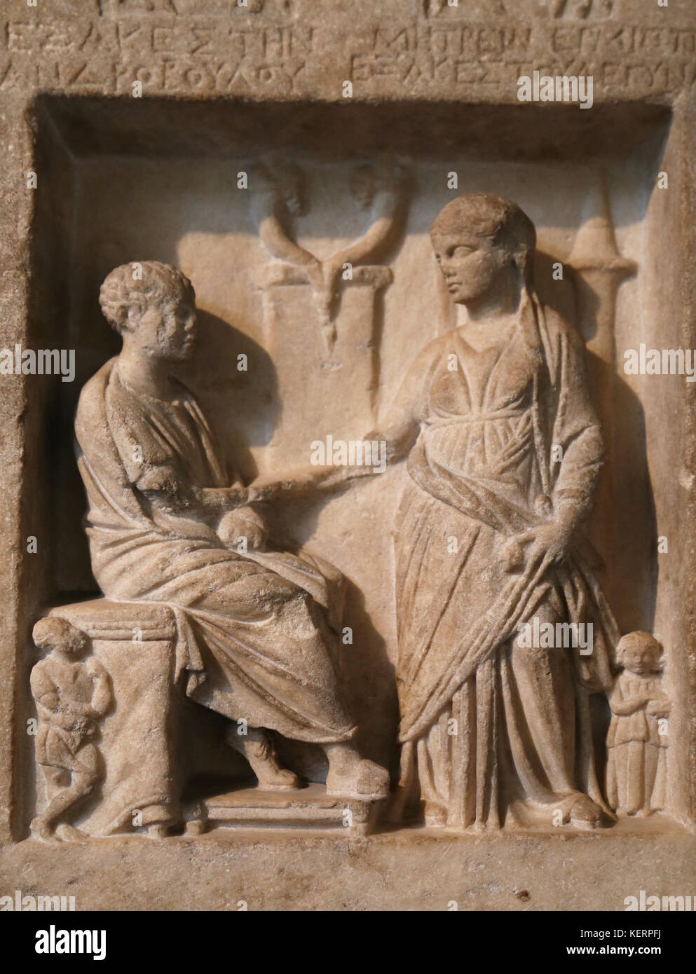 Grave stela of Exakestes, son of Androboulos, and his wife Metries. From Smyrna, Asia Minor. 150-100 BCE. British - Stock Image