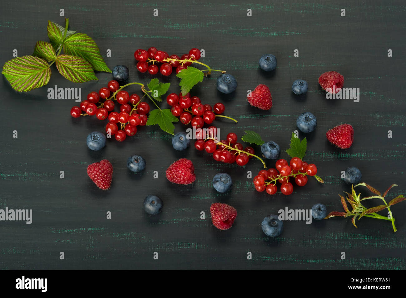 Summer berries with leaves on a dark background close-up - Stock Image