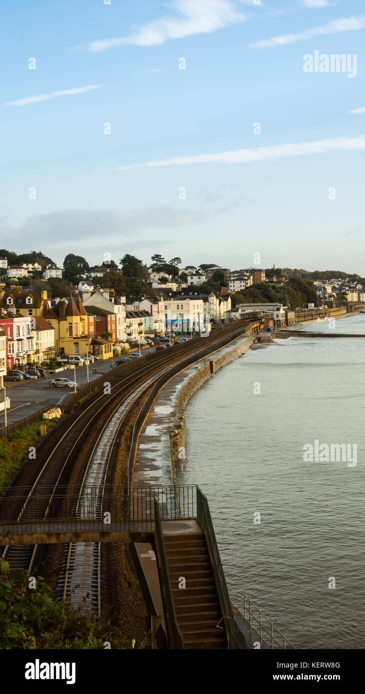 Dawlish seafront showing the railway - Stock Image