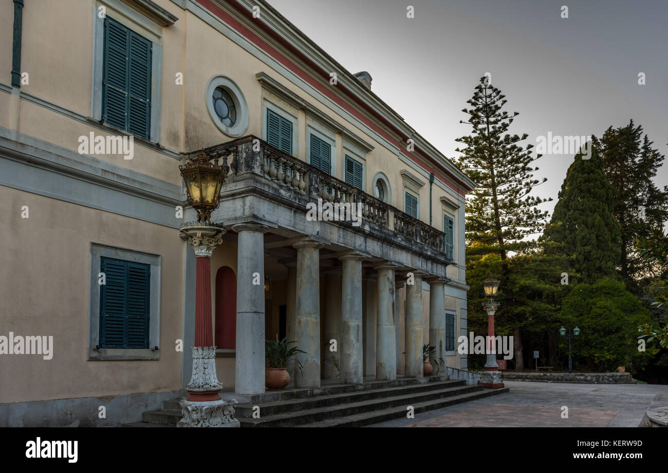 Mon Repos palace at Corfu Greece - Stock Image