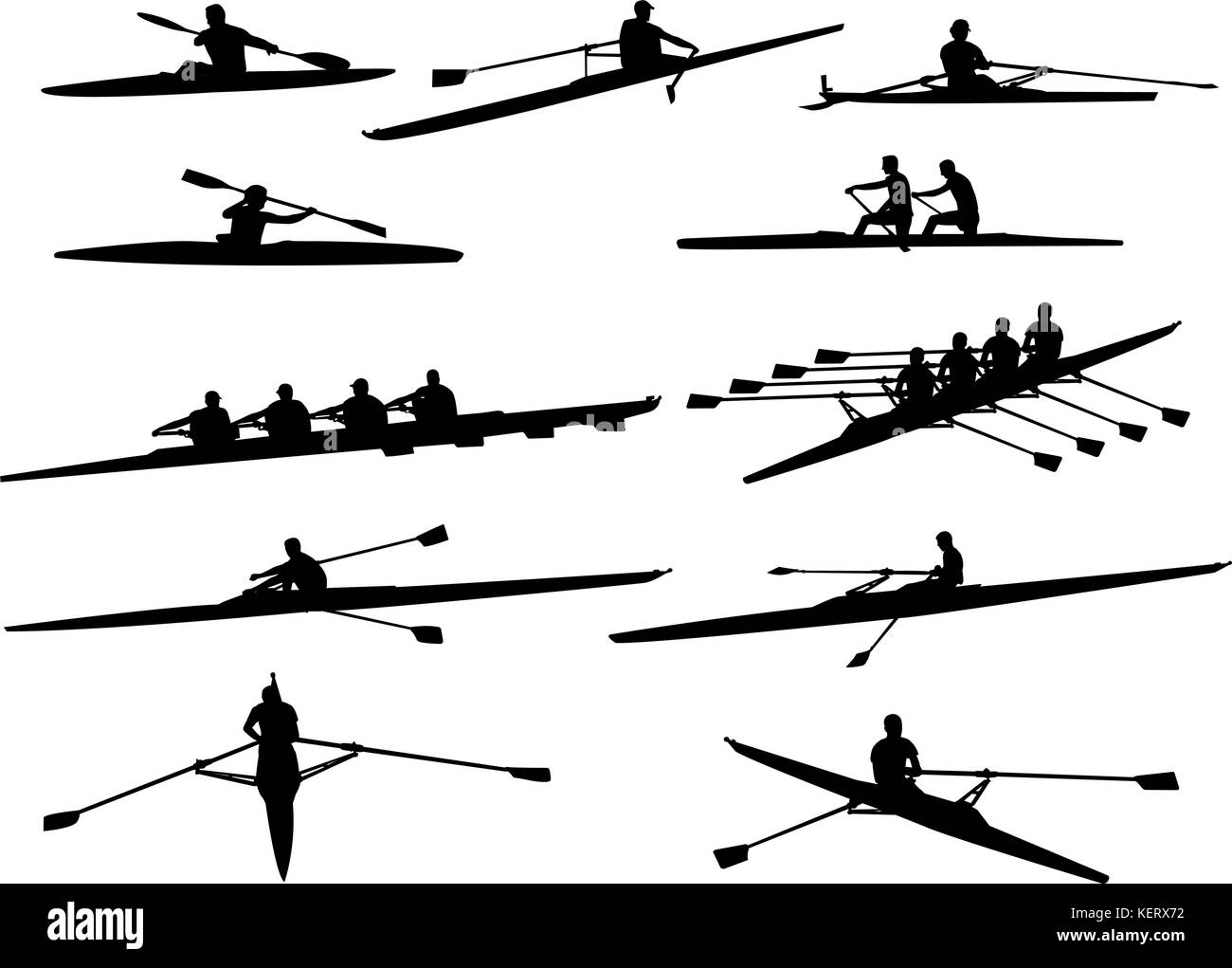 rowing silhouettes - vector - Stock Vector