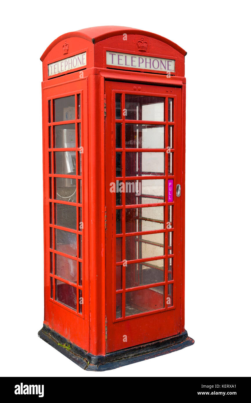 Old fashiond red telephone box isolated - Stock Image