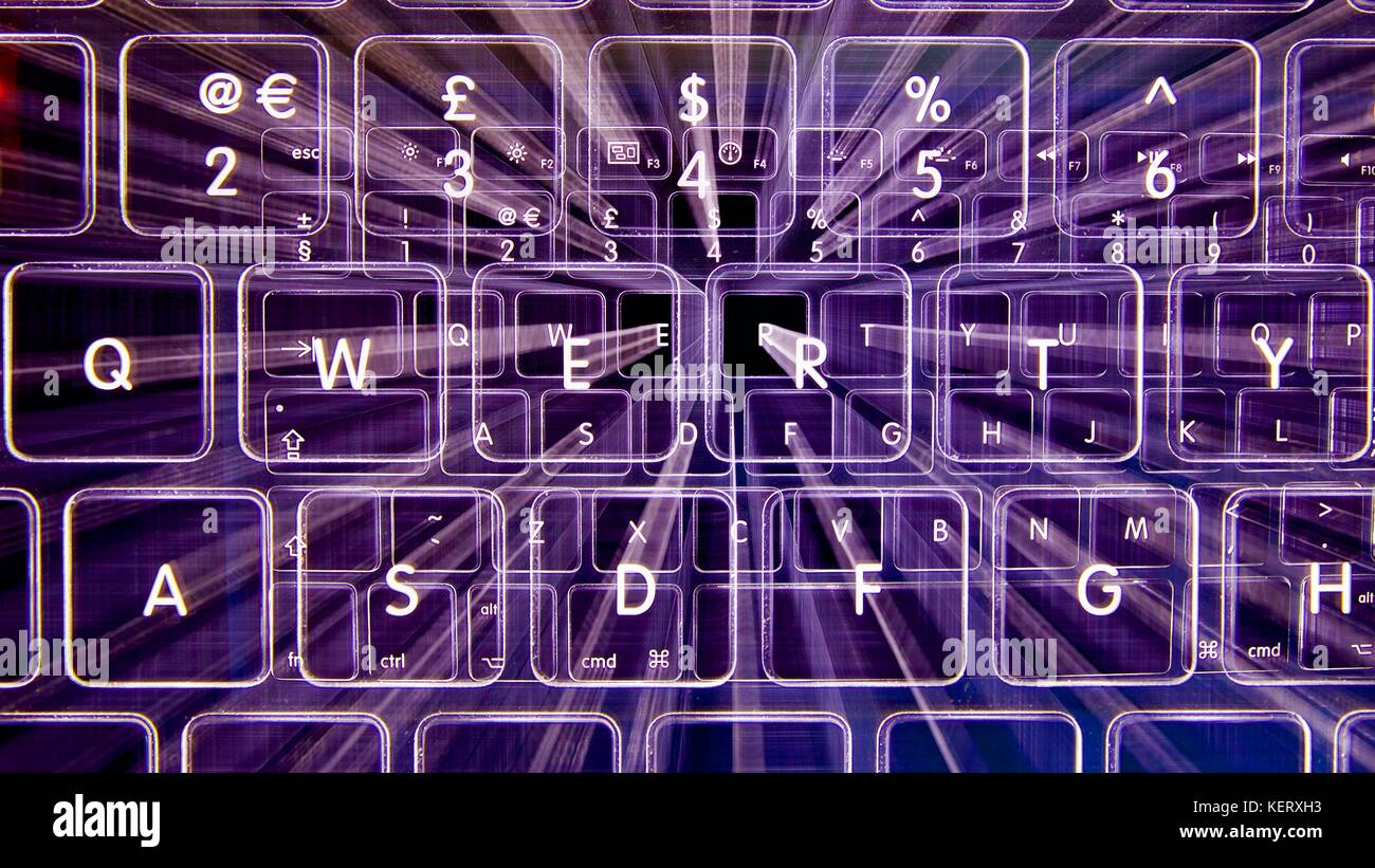 A Backlit Keyboard With A Futuristic Zoom Effect Stock Photo Alamy