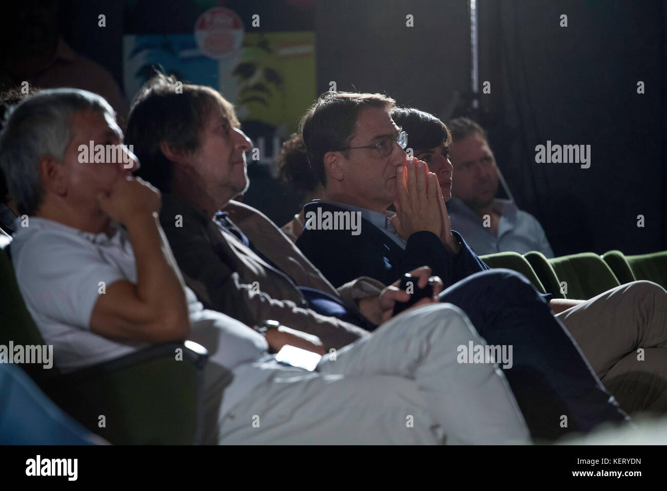 Claudio Fava, candidate for the Presidency of the Sicilian Region, during a Palermitan left assembly. - Stock Image