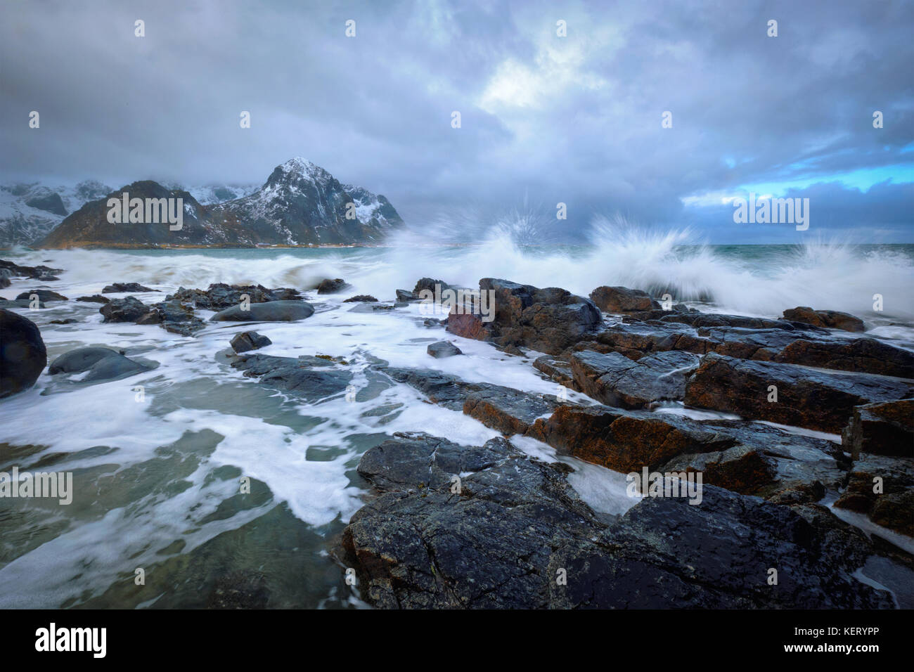 Rocky coast of fjord in Norway - Stock Image