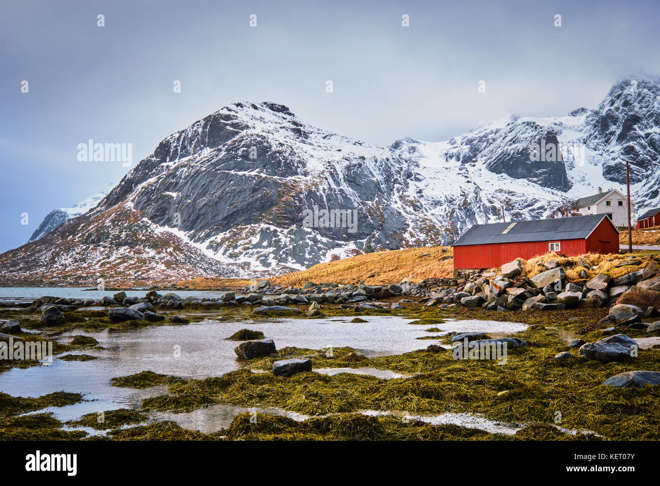 Red rorbu house and fjord in Norway - Stock Image