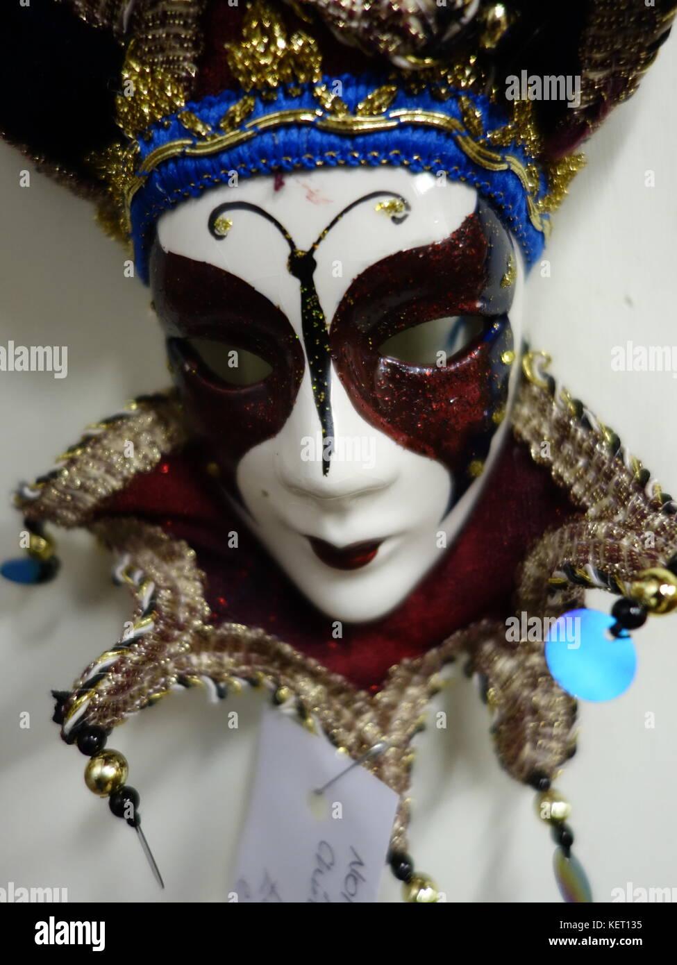A Pierrot clown mask - Stock Image