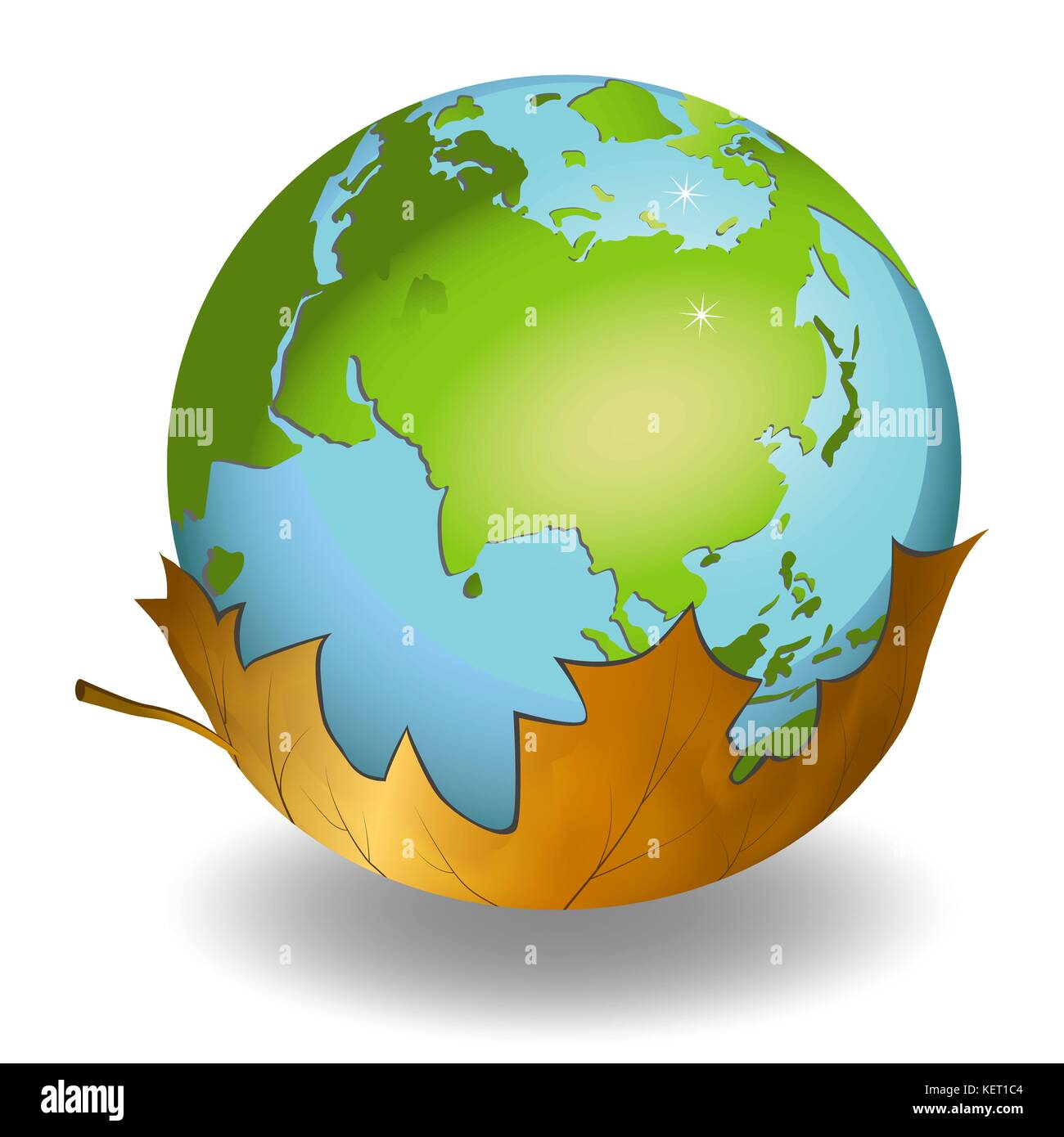 Earth globes on leaf on white background - Stock Image