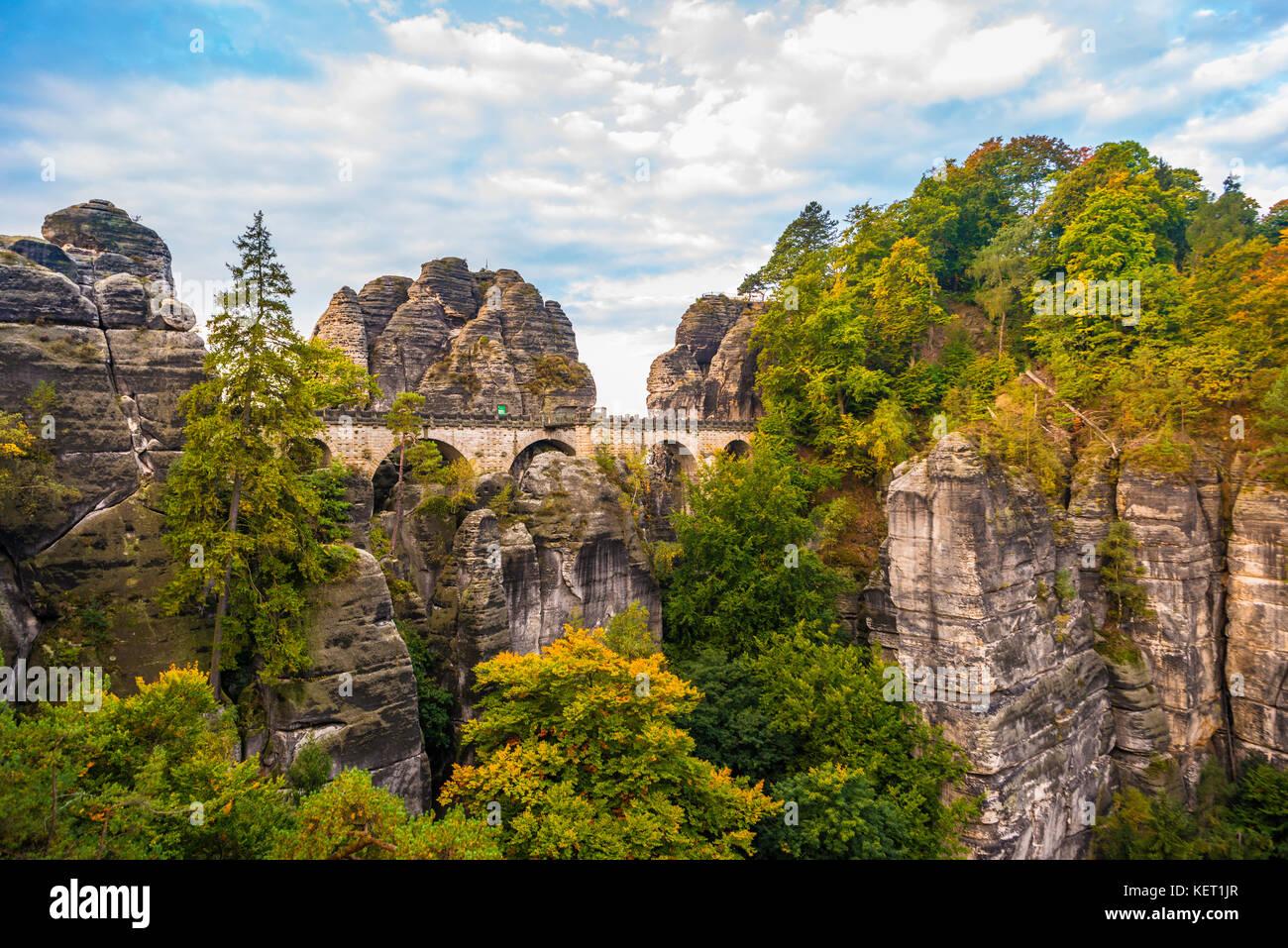 View of Bastei bridge, Bastei, Elbe Sandstone Mountains, Rathen, National Park Saxon Switzerland, Saxony, Germany Stock Photo