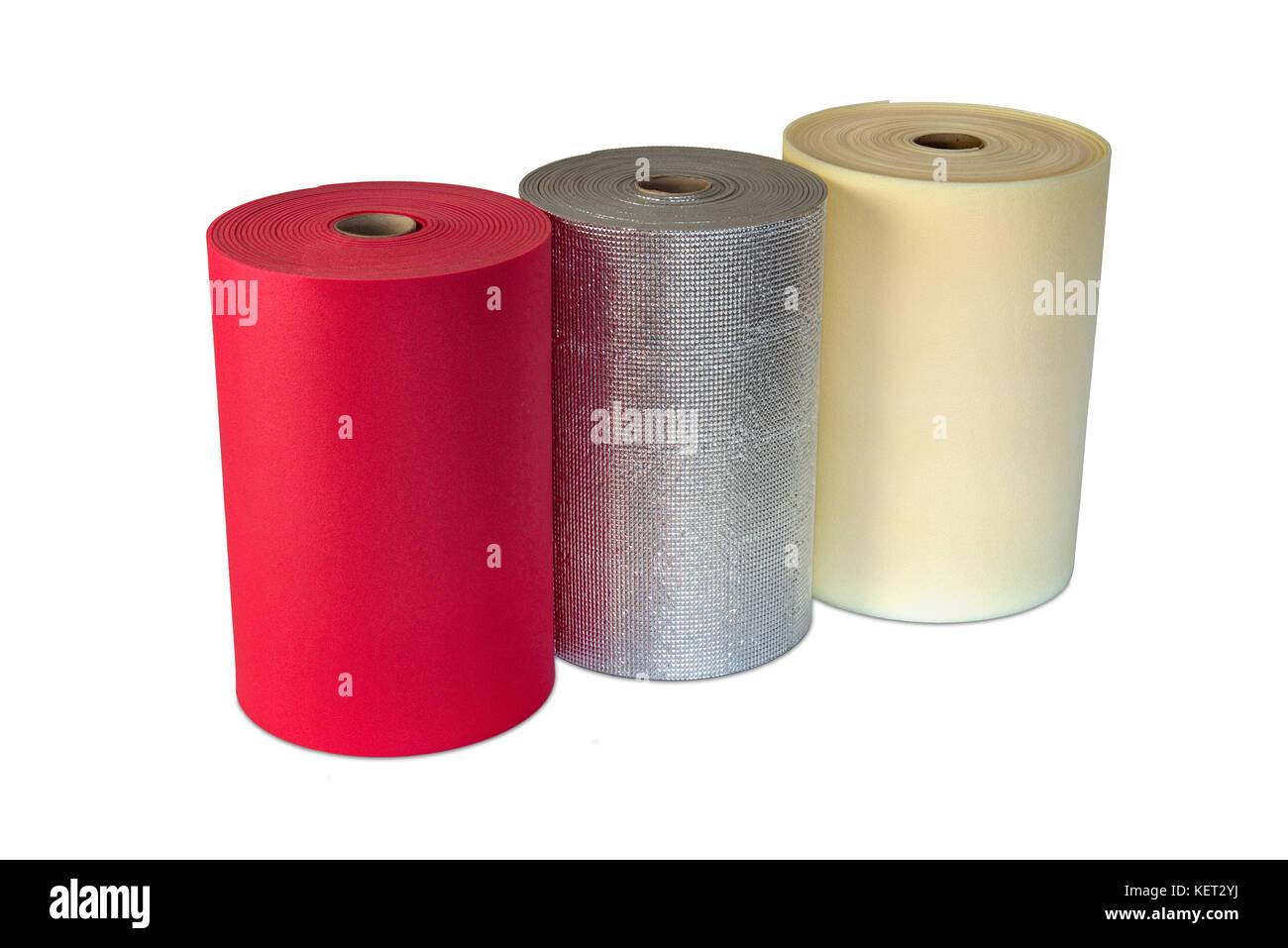 Polyethylene rolls  foam multi colour product shockproof multi type - Stock Image