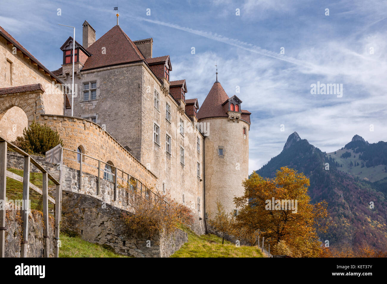 Gruyères Castle,  Gruyères, Fribourg, Switzerland - Stock Image