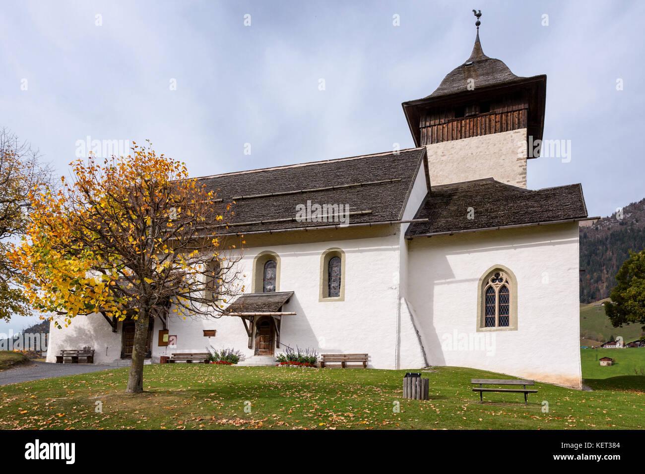 The church of Chateau-D'Oex, Vaud, Switzerland Stock Photo