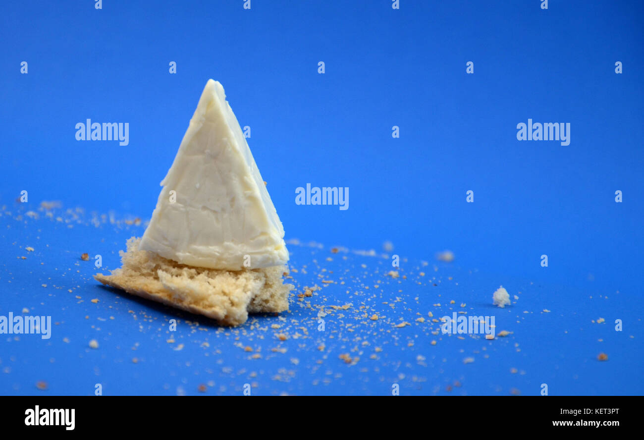 picture of a processed cheese on a blue background - Stock Image