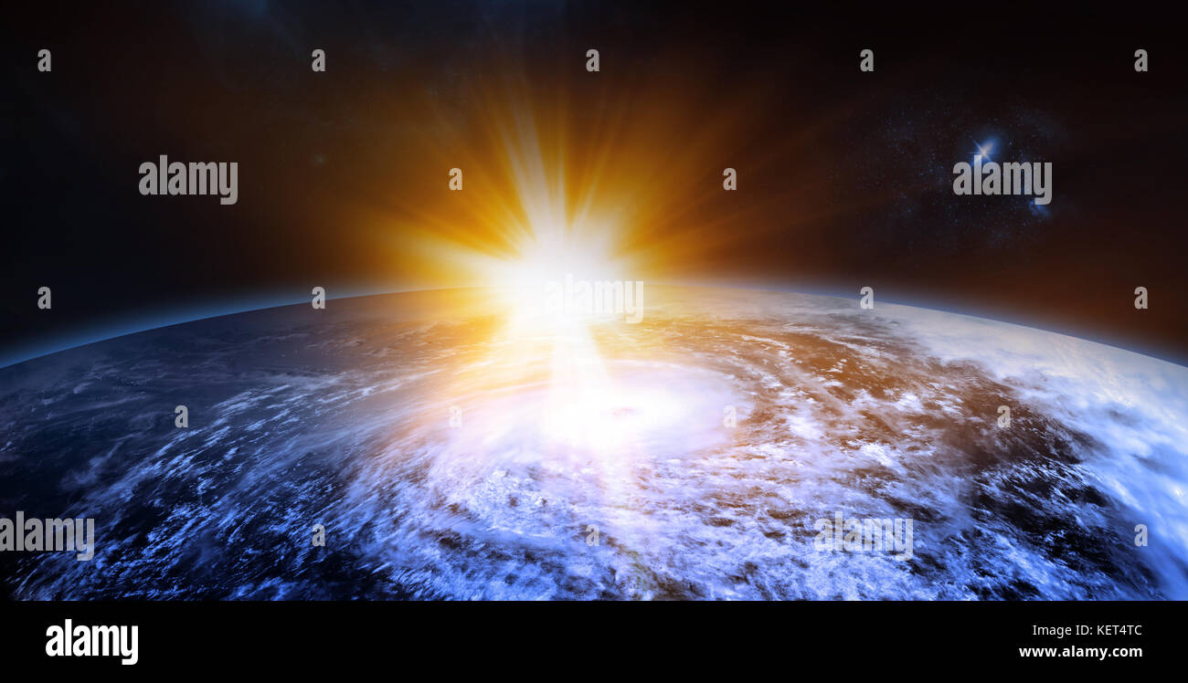 Celestial Digital Art, Rising Sun Behind the Planet, Stars and Galaxies in Outer Space Showing the Beauty of Space - Stock Image