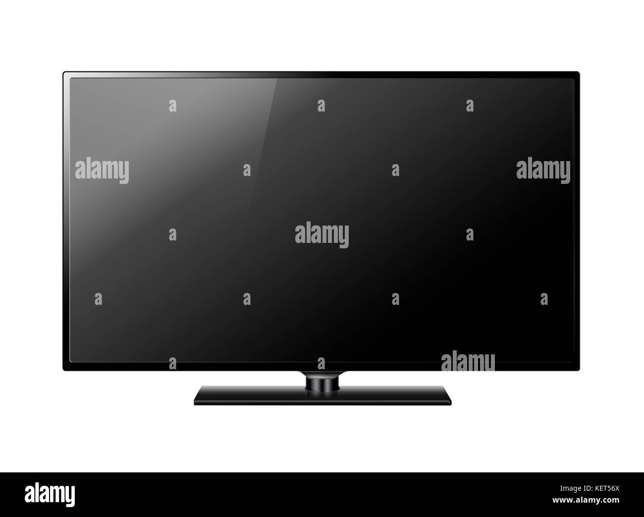 Wide Screen Black Television Isolated on White Background, Clipping Path Included. 3d Illustration - Stock Image
