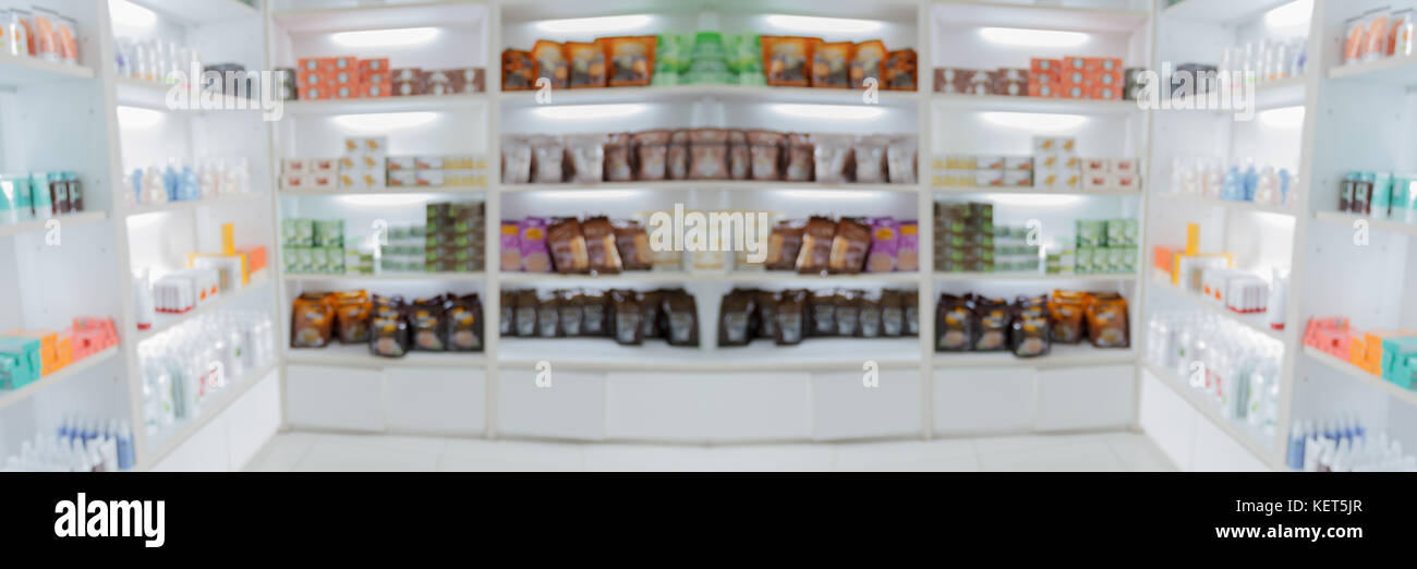 Merveilleux Panorama On Medicine Cabinet And Store Medicine And Pharmacy Drugstore On  Supermaket For Blurry Background