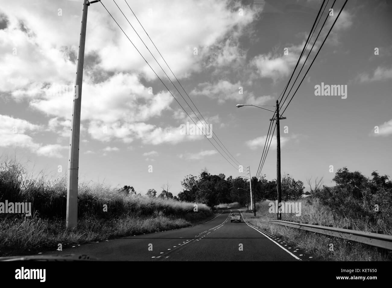 Driving to Ka'ena Point Trail, Oahu Hawaii - Stock Image