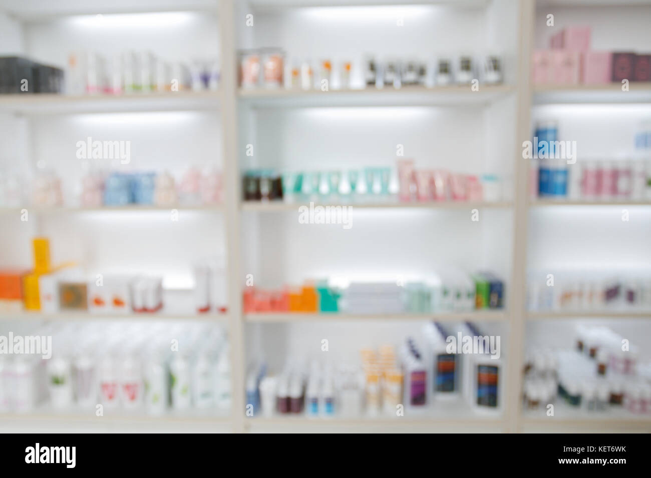 Blurry Medicine Cabinet And Store Pharmacy Drugstore For Background
