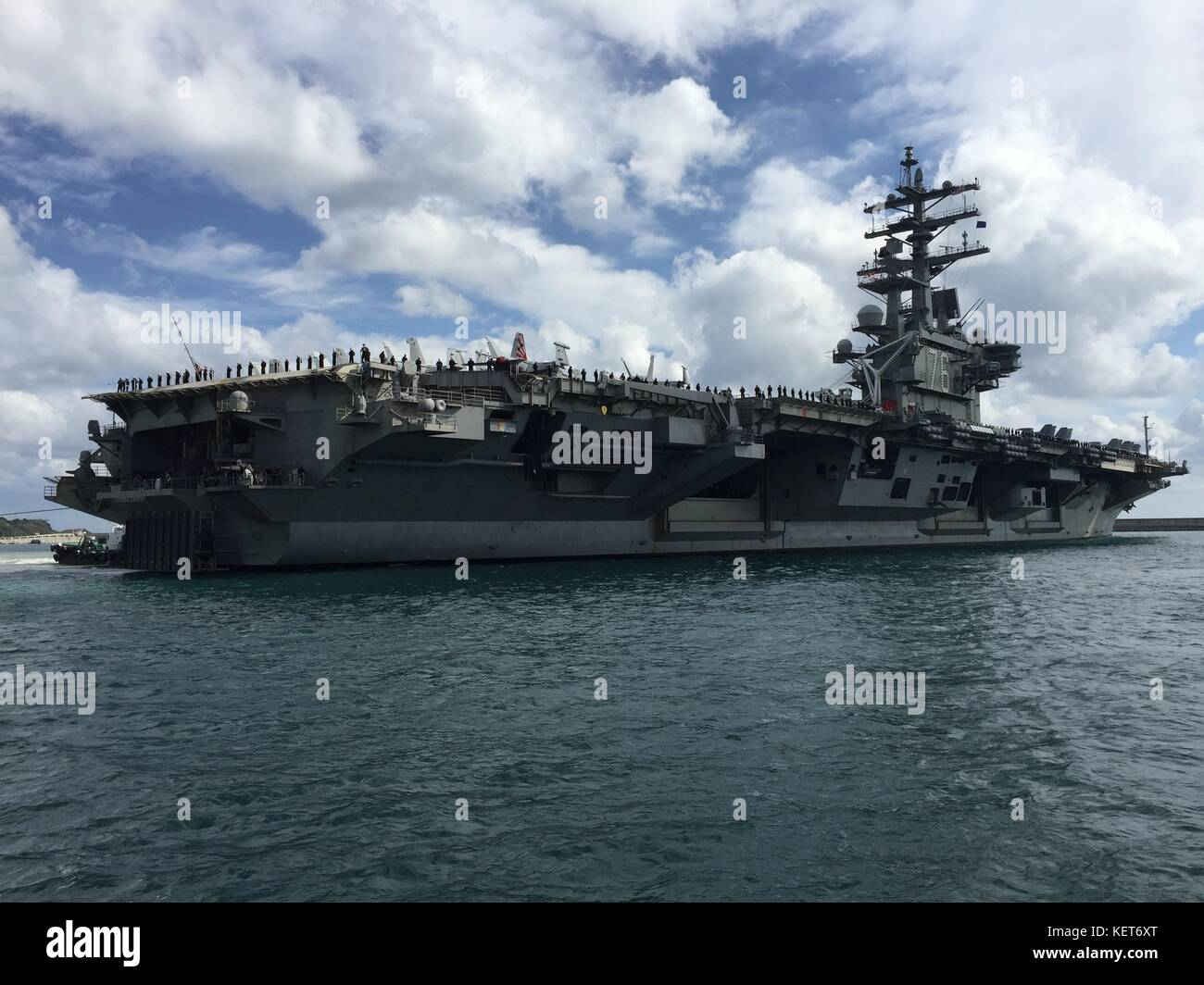 The USS Ronald Reagan (CVN 76) Carrier Strike Group pulled into port at Busan, Republic of Korea Stock Photo