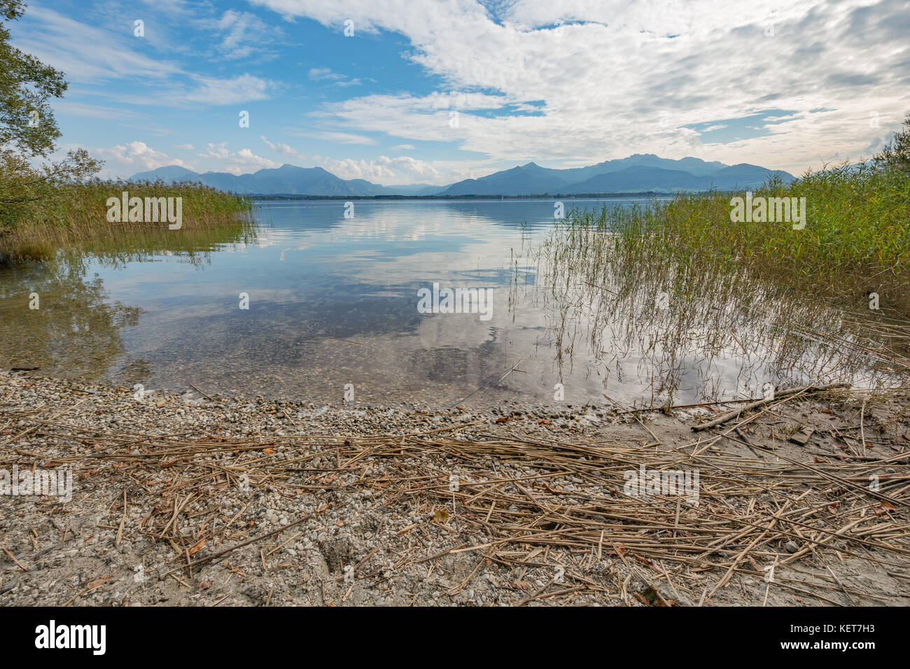 View of the Alps from the Herreninsel in the Chiemsee at Paul's rest Stock Photo