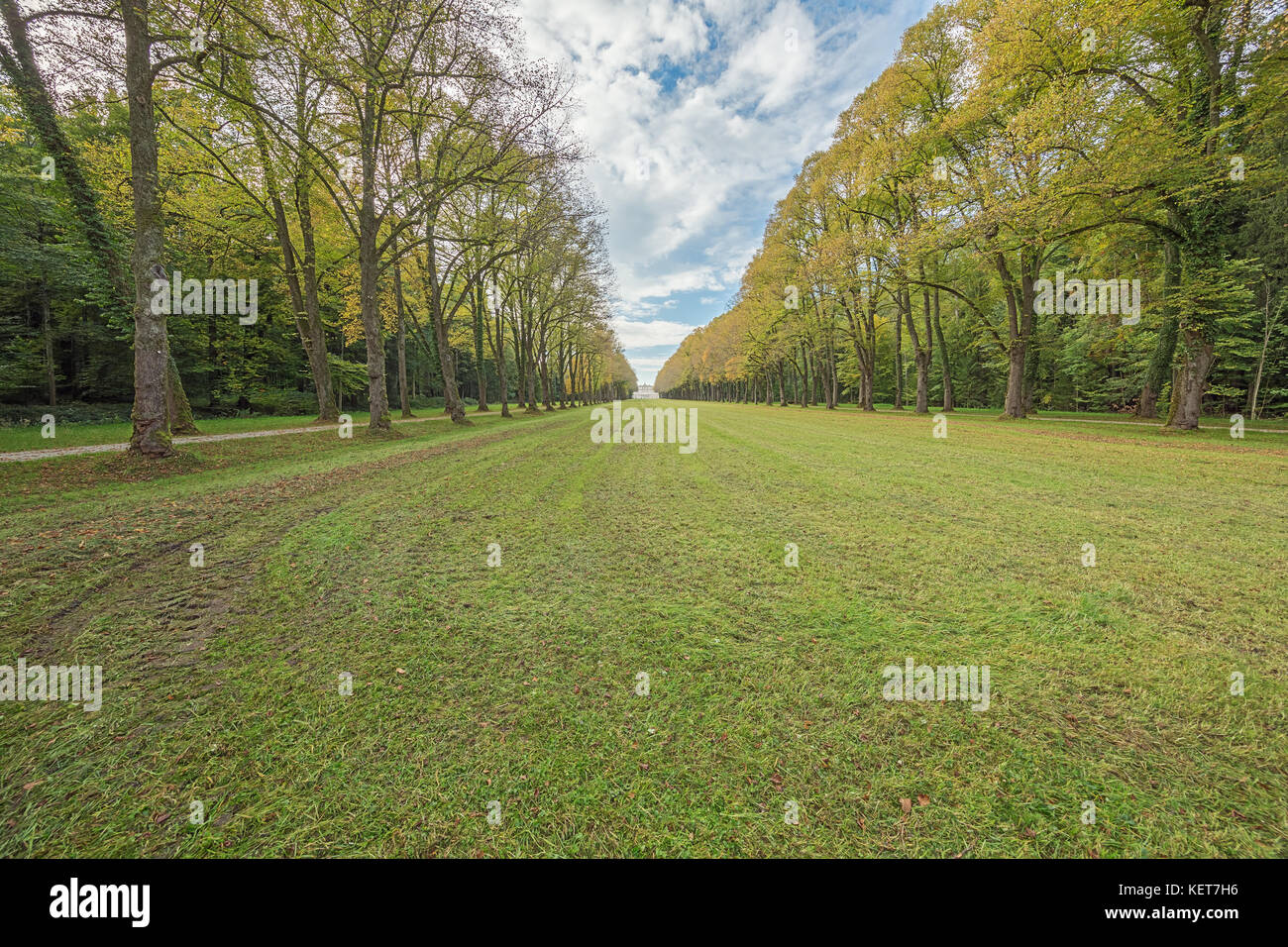 Editorial: PRIEN, HERRENINSEL, BAVARIA, GERMANY, September 27, 2017 - Distant view of the Herrenchiemsee palace - Stock Image