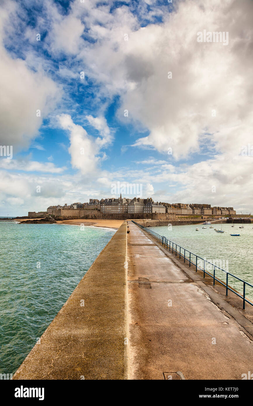 Walled City or Intra Muros of Saint-Malo, Brittany, France - Stock Image