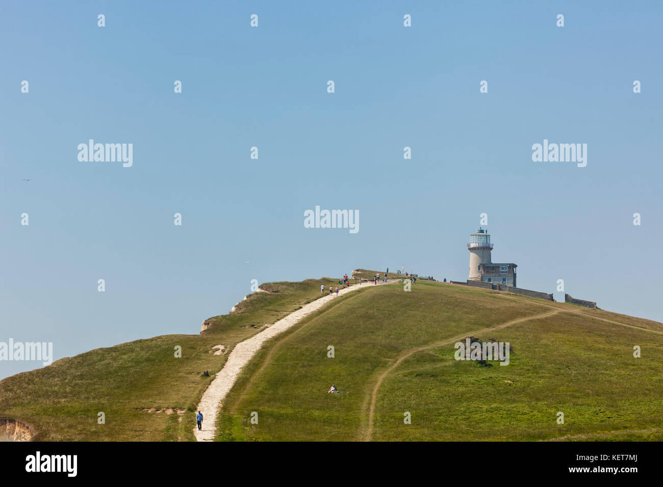 Belle Tout lighthouse upon the cliffs of Beachy Head, East Sussex - Stock Image