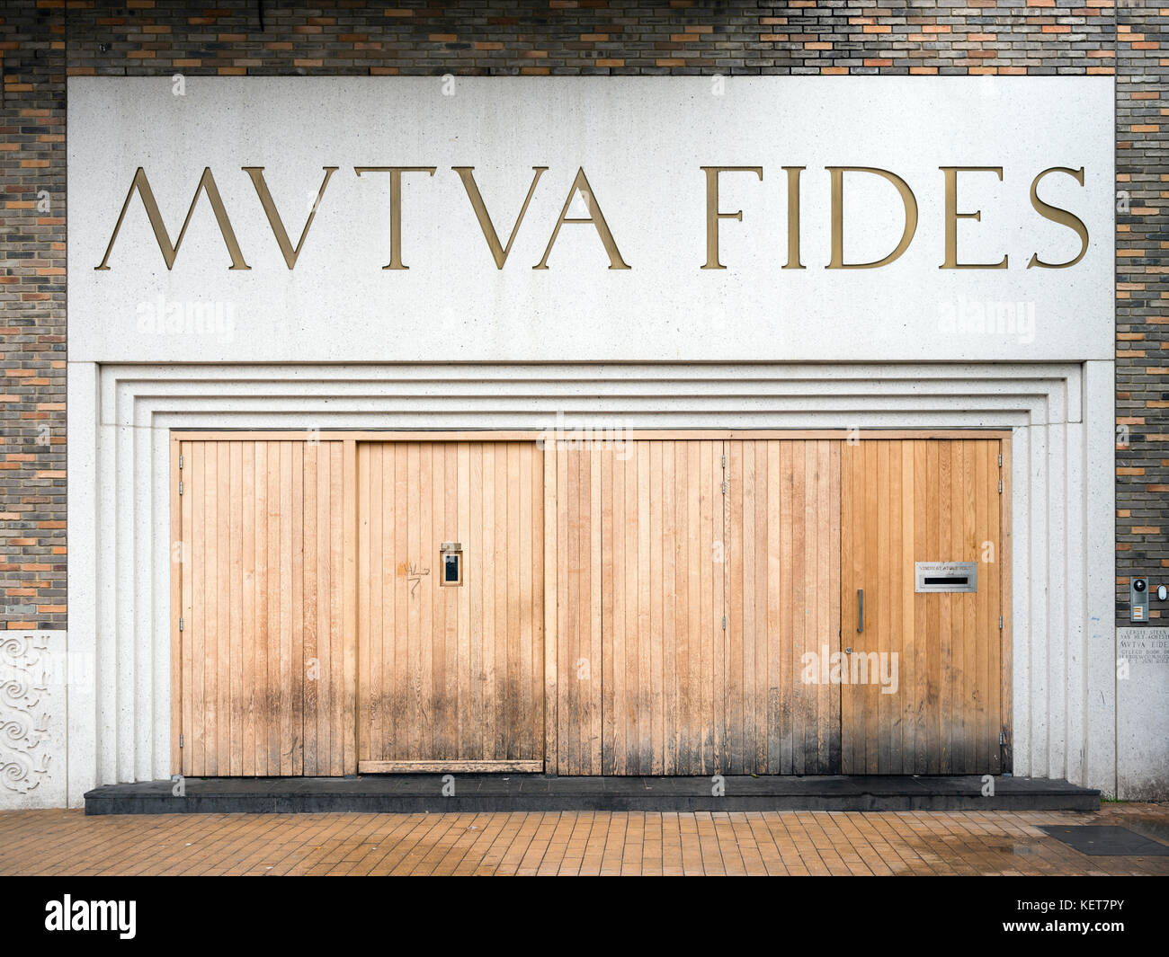 entrance to university student club mutua fides in the city of groningen in the netherlands Stock Photo