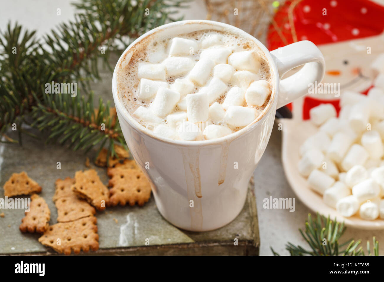 Hot Christmas cocoa in a white mug with marshmallow and spices. Holiday hot drink concept. Stock Photo