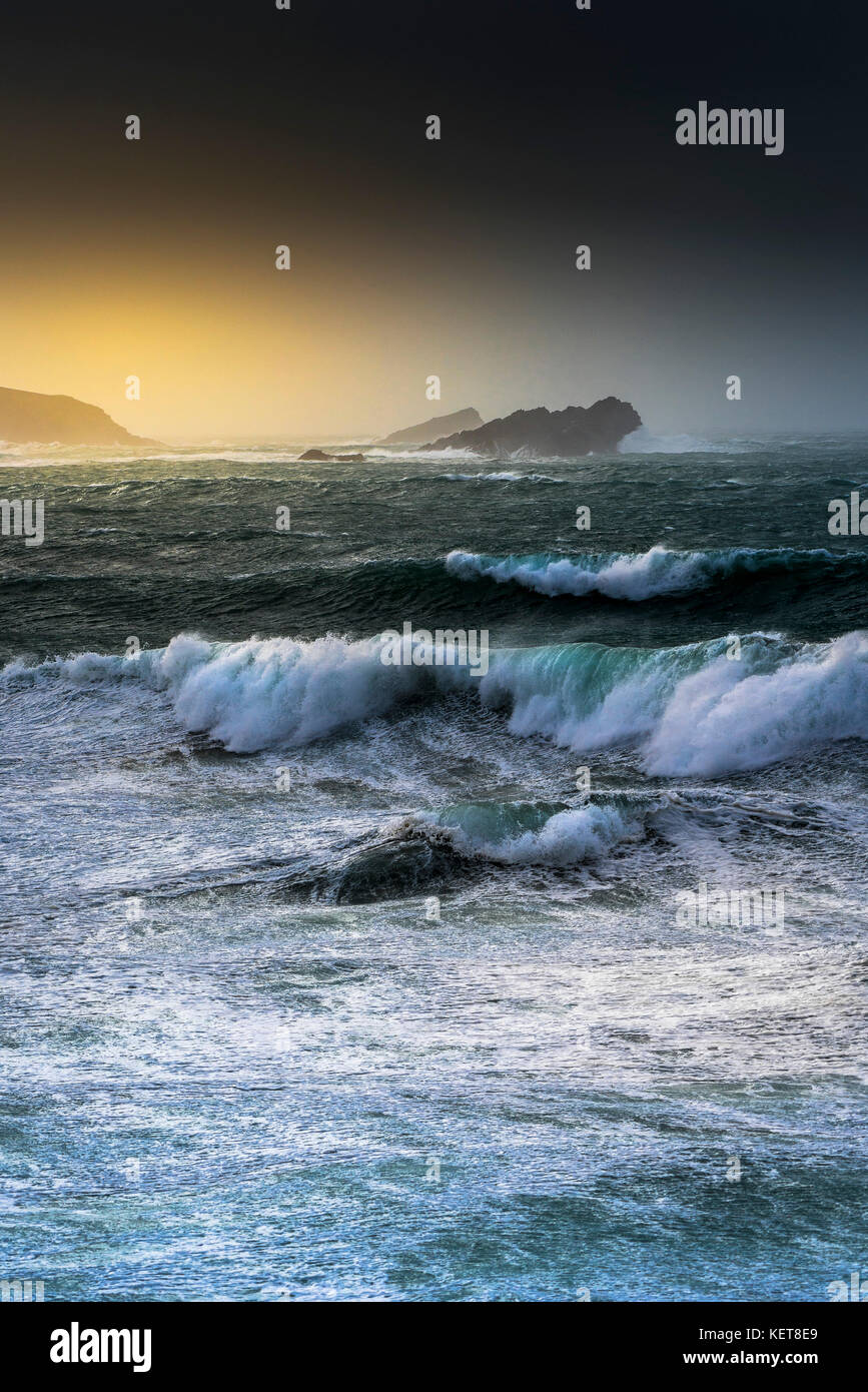 UK Weather Storm Ophelia - wild stormy sea conditions as Storm Ophelia hits the coast at Newquay Cornwell. - Stock Image
