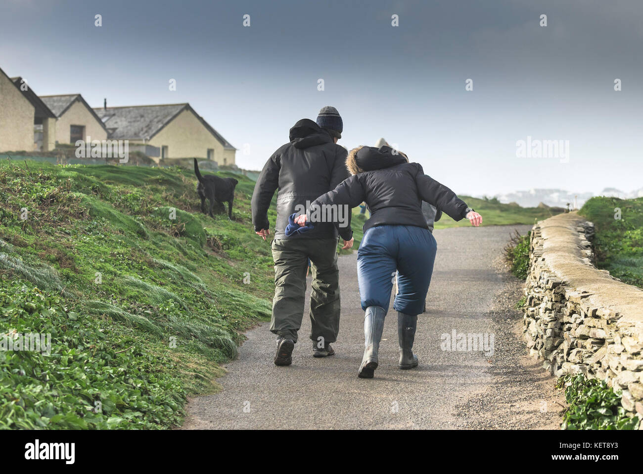 UK Weather Storm Brian - a couple walking into stormforce winds as Storm Brian brings wild weather to the North - Stock Image