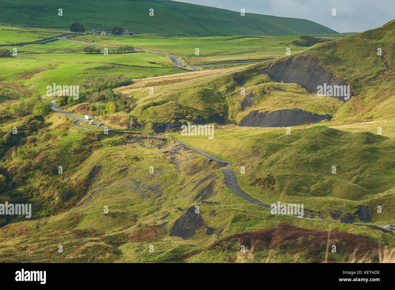 The collapsed Road at Mam Tor. - Stock Image