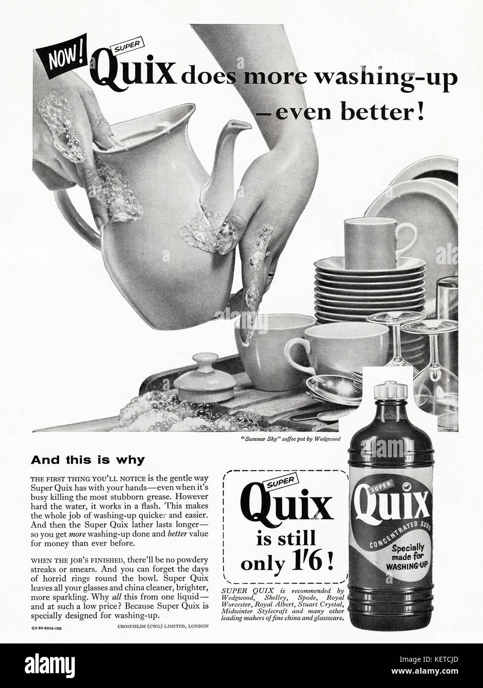 1950s old vintage original advert british magazine advertisement advertising Quix washing-up liquid dated 1958 - Stock Image