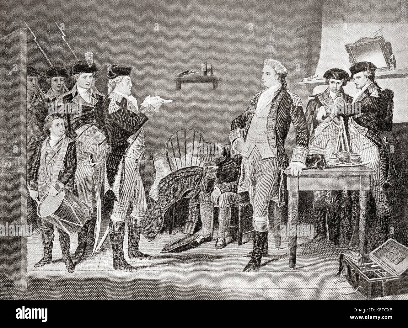 Delivering the death warrant of John André.  John André, 1750 –  1780.  British Army officer hanged as - Stock Image