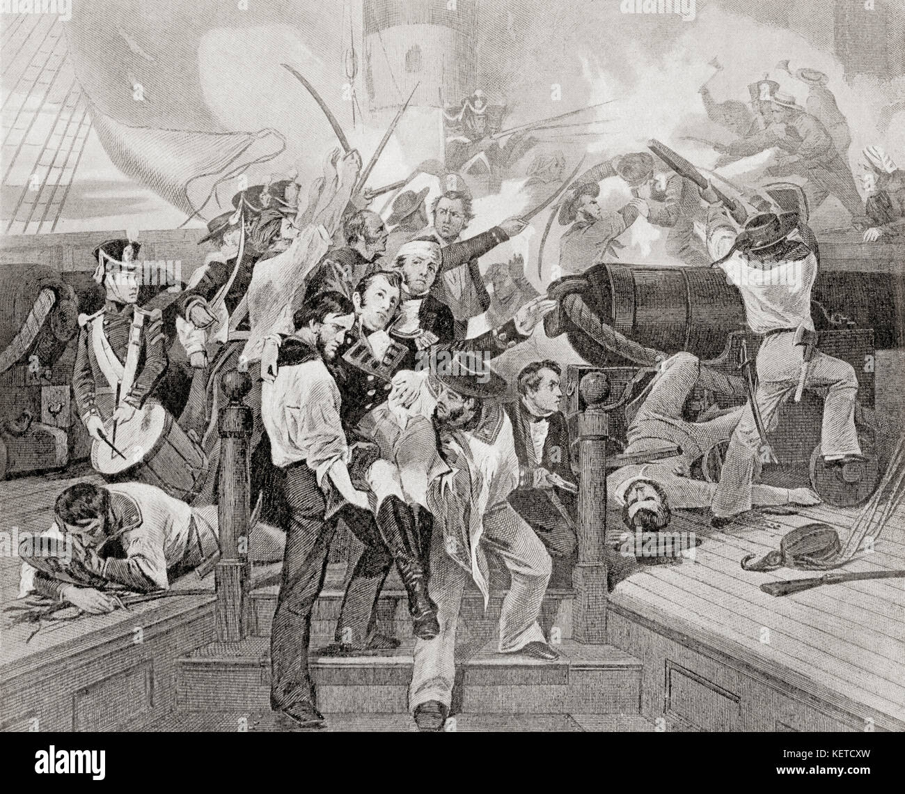 The death of James Lawrence aboard the USS Chesapeake after a single-ship action against HMS Shannon during The War of 1812.  James Lawrence, 1781 – 1813. American naval officer.  From Hutchinson's History of the Nations, published 1915. Stock Photo