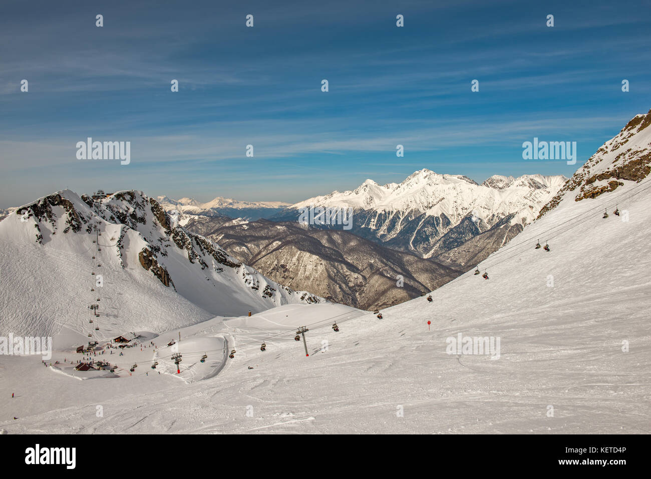 Winter mountain landscape - ski resort in Sochi, Russia - Stock Image