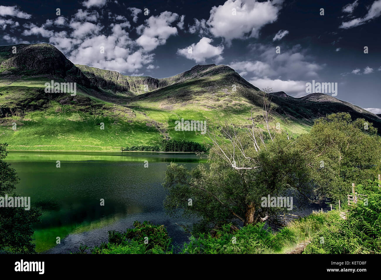 Beautiful Buttermere lake in Lake District National Park,Cumbria,United Kingdom,spring 2017.Lake district scenic - Stock Image